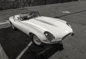classic white jaguar etype convertible